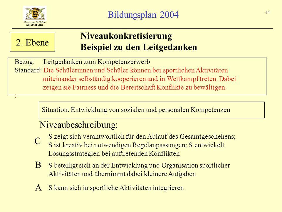 Ministerium für Kultus, Jugend und Sport Bildungsplan 2004 44 Bezug: Leitgedanken zum Kompetenzerwerb Standard: Die Schülerinnen und Schüler können bei sportlichen Aktivitäten miteinander selbständig kooperieren und in Wettkampf treten.