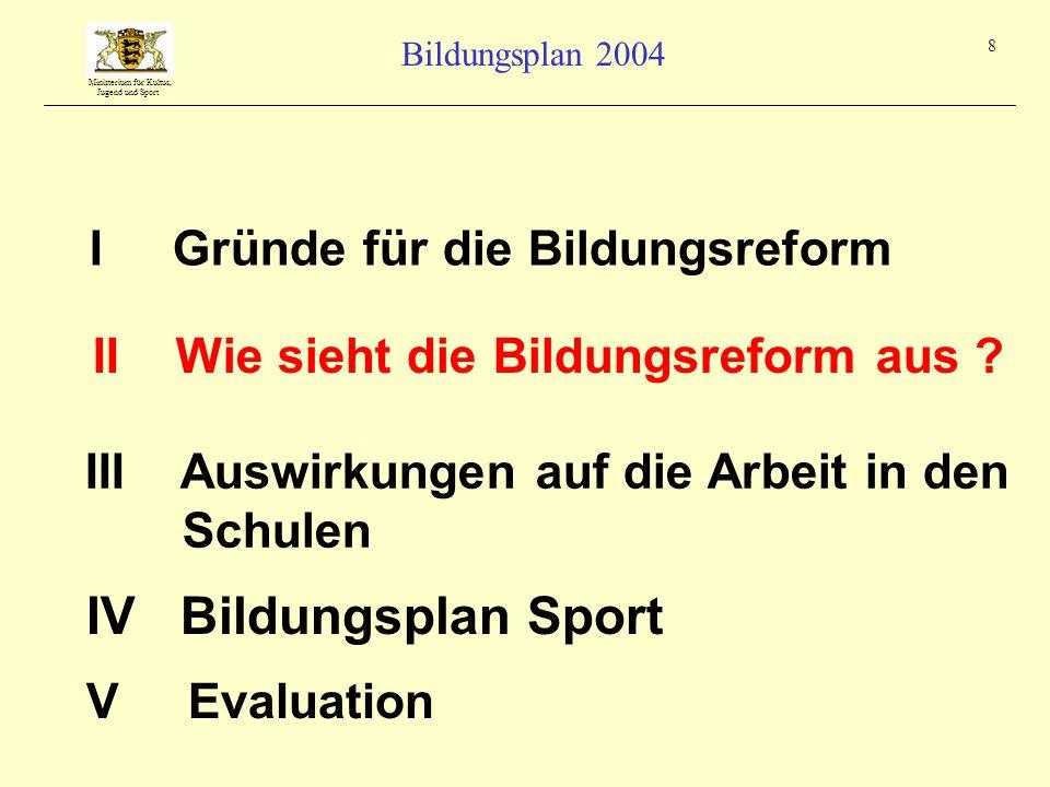 Ministerium für Kultus, Jugend und Sport Bildungsplan 2004 19 I Gründe für die Bildungsreform III Auswirkungen auf die Arbeit in den Schulen II Wie sieht die Bildungsreform aus .