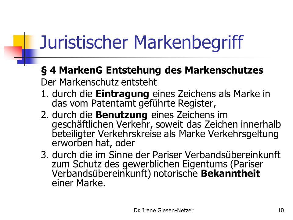Dr. Irene Giesen-Netzer9 Juristischer Markenbegriff Als gewerbliches Schutzrecht: MarkenG vom 24.10.1994 § 3 Als Marke schutzfähige Zeichen (1) Als Ma