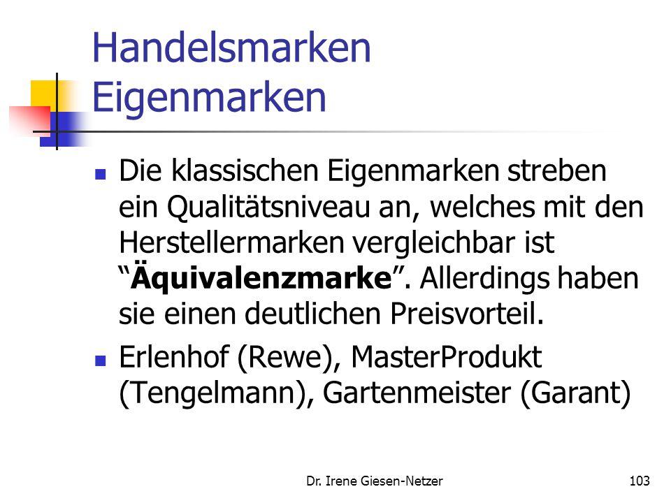 Dr. Irene Giesen-Netzer102 Handelsmarken Gattungsmarken Produktgruppen mit geringem wahrgenommenen Einkaufsrisiko Zumeist Verbrauchsgüter (Toilettenpa