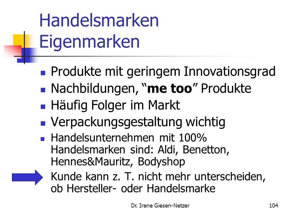 Dr. Irene Giesen-Netzer103 Handelsmarken Eigenmarken Die klassischen Eigenmarken streben ein Qualitätsniveau an, welches mit den Herstellermarken verg
