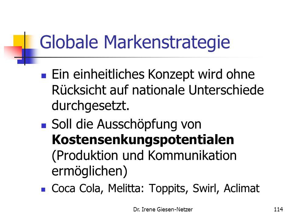 Dr. Irene Giesen-Netzer113 Multinationale Markenstrategie Bei der multinationalen Markenstrategie sind die Unternehmen mit individuellen Konzepten in