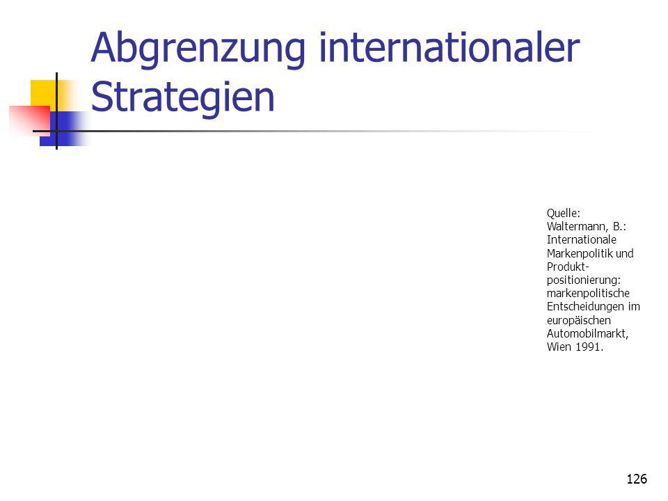 Dr. Irene Giesen-Netzer125 Konzeptionell gebündelte Markenstrategie Bei den international bestehenden Märkten liegen deutliche Unterschiede vor, sie l