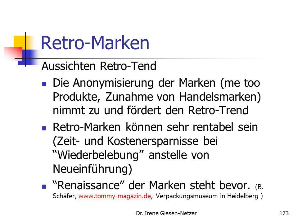 """Dr. Irene Giesen-Netzer172 Retro-Marken Gefahren beim Retro-Trend """"Retro-Trap"""" insbesondere bei Automobilen ein Problem. Die Erinnerung und Erwartung"""