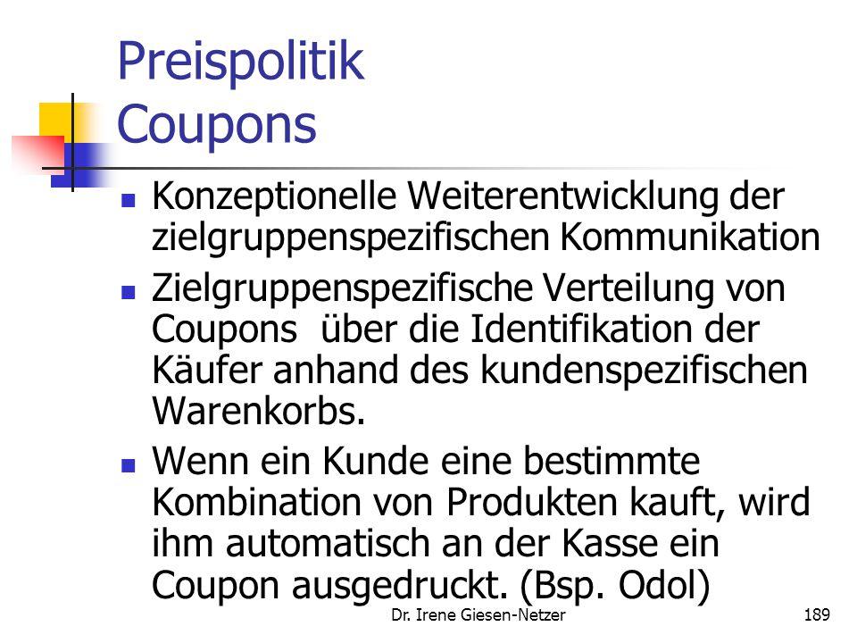 Dr. Irene Giesen-Netzer188 Preispolitik Preisorientierung in Europa Quelle: GfK Lebensstilforschung 2004 LandPreisorientierung 2001 Preisorientierung