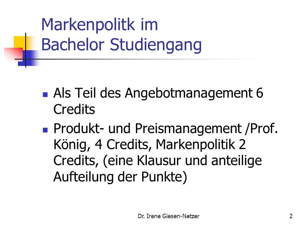 Dr.Irene Giesen-Netzer52 Bildung strategischer Geschäftseinheiten Quelle: Birkelbach, R.