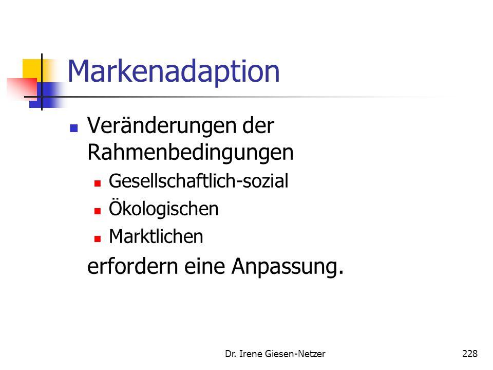 Dr. Irene Giesen-Netzer227 Markenpenetration Inhaltliche Konstanz der Markenkomponenten zur Schaffung einer Markenpersönlichkeit