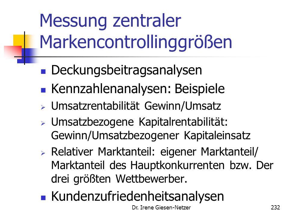 Dr. Irene Giesen-Netzer231 Zielgrößen des Markencontrolling Quelle: Meffert, H., Burmann, Ch., Koers, M., Markenmanagement, S. 411