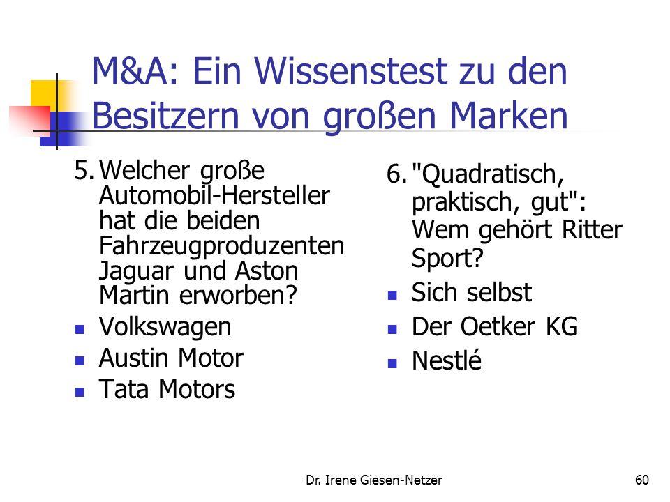 Dr. Irene Giesen-Netzer59 M&A: Ein Wissenstest zu den Besitzern von großen Marken 3.Welche der folgenden drei Marken ist eigenständig? Bentley Sarotti