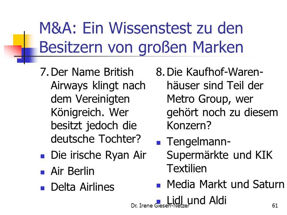 Dr. Irene Giesen-Netzer60 M&A: Ein Wissenstest zu den Besitzern von großen Marken 5.Welcher große Automobil-Hersteller hat die beiden Fahrzeugproduzen