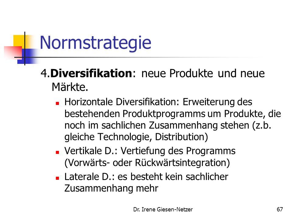 Dr. Irene Giesen-Netzer66 Normstrategie 2.Marktentwicklung: Finden von neuen Märkten. Regional, national oder internationale Ausdehnung. Gewinnung neu