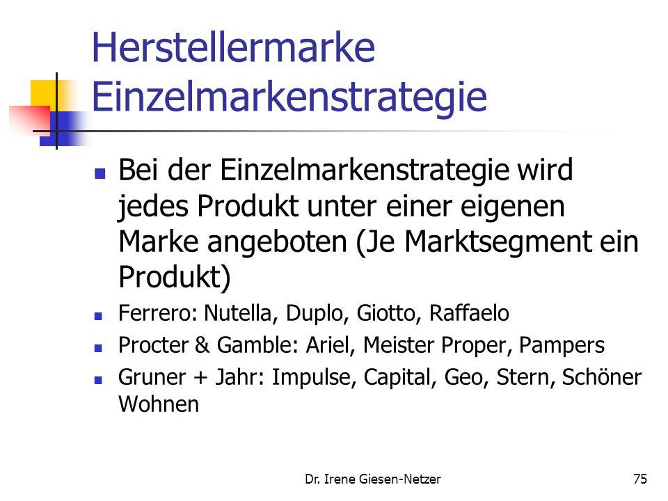74 Abgrenzung von Markenstrategien Hersteller- marken Premium- Marken Eigen- Marken Gattungs- marken Handelsmarken Einzel- marken strategie Mehr- mark