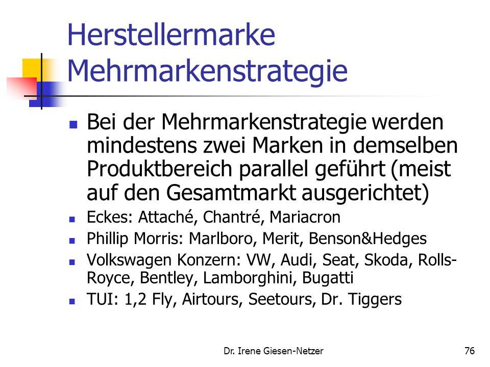 Dr. Irene Giesen-Netzer75 Herstellermarke Einzelmarkenstrategie Bei der Einzelmarkenstrategie wird jedes Produkt unter einer eigenen Marke angeboten (