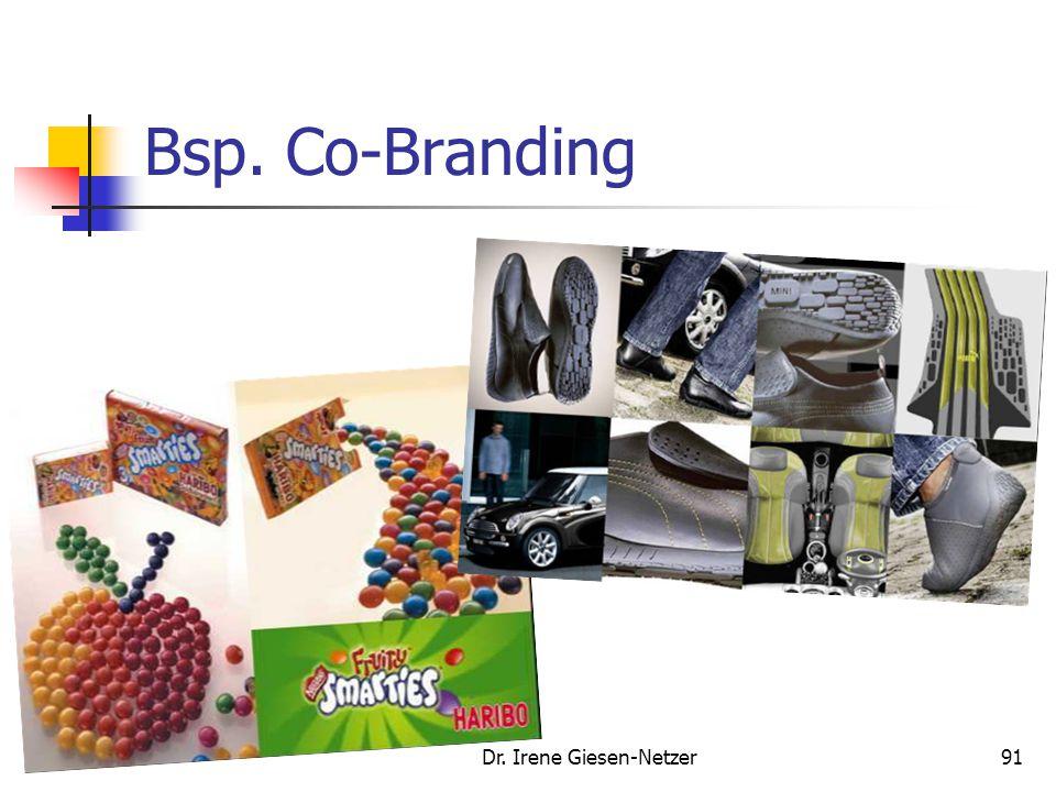 Dr. Irene Giesen-Netzer90 Co-Branding Der gemeinsame Auftritt von ansonsten selbständigen Marken in einem kooperativen Verbund heißt Co- Branding (Bsp