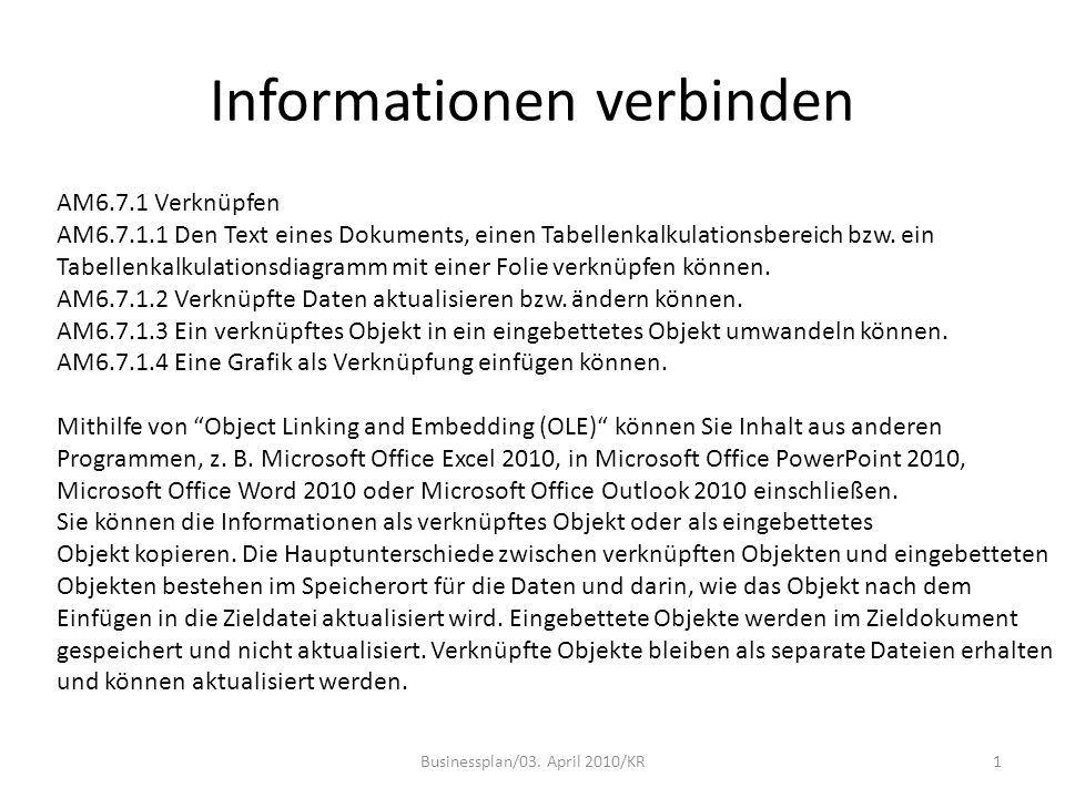 Informationen verbinden Businessplan/03.