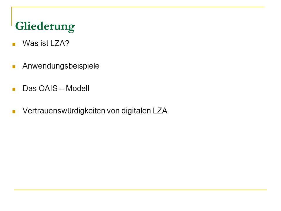 Gliederung Was ist LZA? Anwendungsbeispiele Das OAIS – Modell Vertrauenswürdigkeiten von digitalen LZA