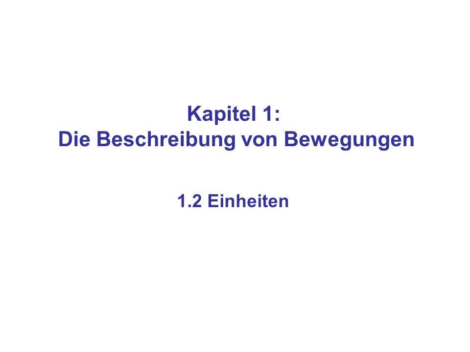 Kapitel 1: Die Beschreibung von Bewegungen 1.2 Einheiten