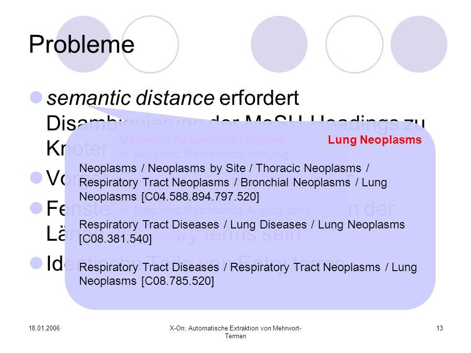 18.01.2006X-On: Automatische Extraktion von Mehrwort- Termen 13 Probleme semantic distance erfordert Disambiguierung der MeSH-Headings zu Knoten Vorgehensweise erzwingt Treffer Fenstergröße muss abhängig von der Länge des Entry terms sein Identische Teile von Entry terms Magnetic Resonance Imaging -> Magnetic Resonance Imaging Perfusion Magnetic Resonance Imaging -> Magnetic Resonance Angiography Lung Neoplasms Neoplasms / Neoplasms by Site / Thoracic Neoplasms / Respiratory Tract Neoplasms / Bronchial Neoplasms / Lung Neoplasms [C04.588.894.797.520] Respiratory Tract Diseases / Lung Diseases / Lung Neoplasms [C08.381.540] Respiratory Tract Diseases / Respiratory Tract Neoplasms / Lung Neoplasms [C08.785.520]