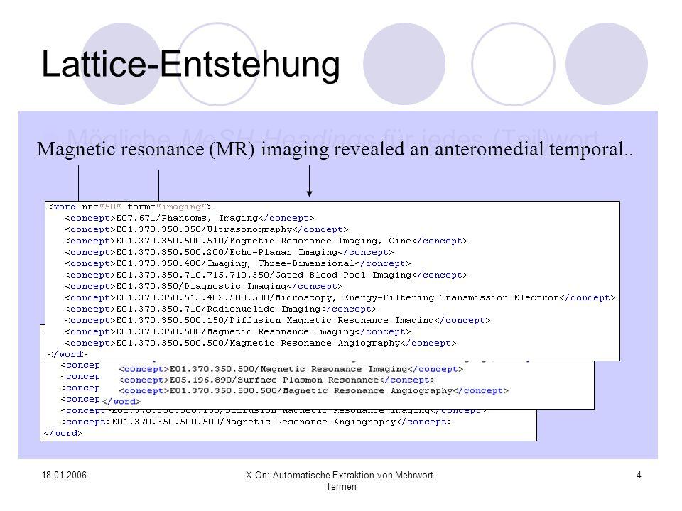 18.01.2006X-On: Automatische Extraktion von Mehrwort- Termen 5 Erweiterte Mustererkennung..