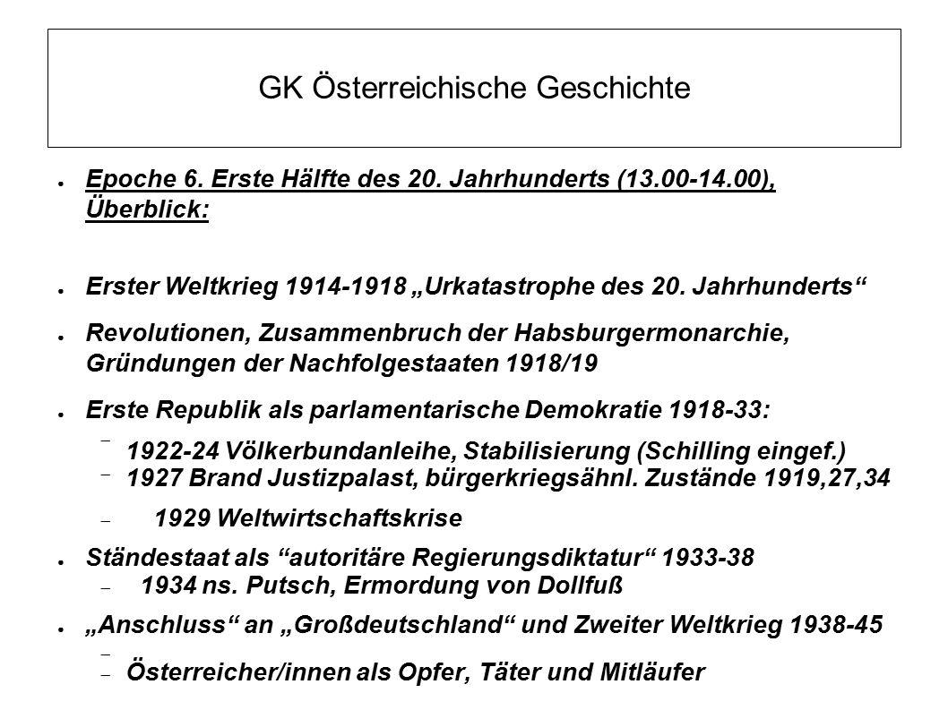 """GK Österreichische Geschichte ● Epoche 6. Erste Hälfte des 20. Jahrhunderts (13.00-14.00), Überblick: ● Erster Weltkrieg 1914-1918 """"Urkatastrophe des"""