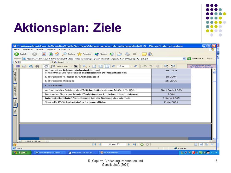 R. Capurro: Vorlesung Information und Gesellschaft (2004) 15 Aktionsplan: Ziele