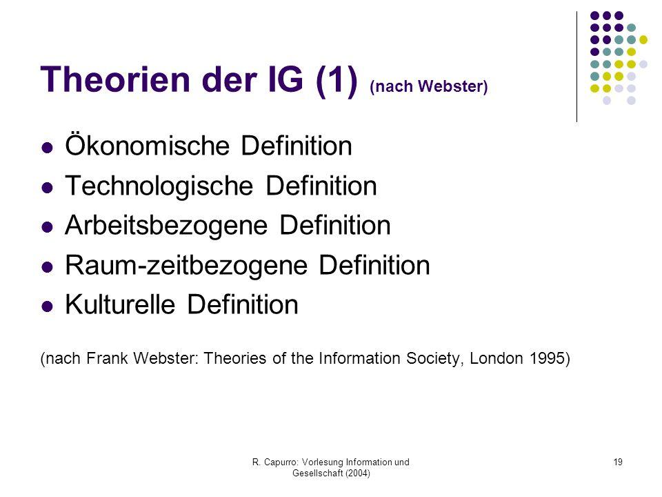 R. Capurro: Vorlesung Information und Gesellschaft (2004) 19 Theorien der IG (1) (nach Webster) Ökonomische Definition Technologische Definition Arbei