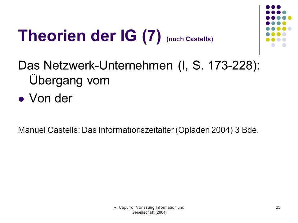 R. Capurro: Vorlesung Information und Gesellschaft (2004) 25 Theorien der IG (7) (nach Castells) Das Netzwerk-Unternehmen (I, S. 173-228): Übergang vo