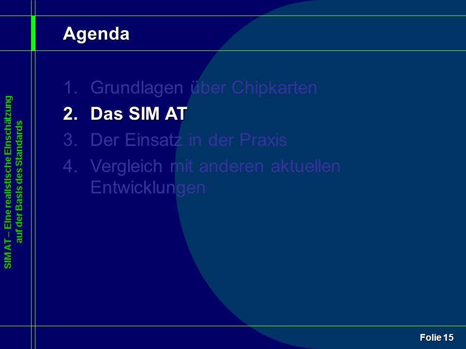 SIM AT – Eine realistische Einschätzung auf der Basis des Standards Folie 15 Agenda 1.Grundlagen über Chipkarten 2.Das SIM AT 3.Der Einsatz in der Praxis 4.Vergleich mit anderen aktuellen Entwicklungen