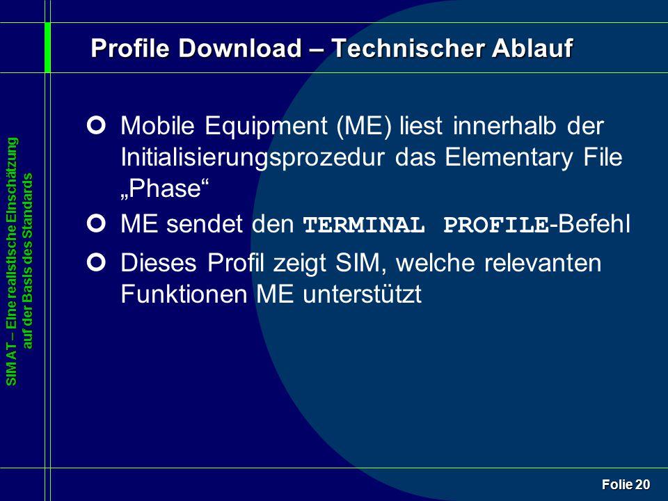 SIM AT – Eine realistische Einschätzung auf der Basis des Standards Folie 20 Profile Download – Technischer Ablauf ¢Mobile Equipment (ME) liest innerh