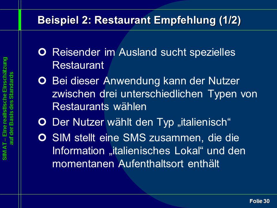 SIM AT – Eine realistische Einschätzung auf der Basis des Standards Folie 30 Beispiel 2: Restaurant Empfehlung (1/2) ¢Reisender im Ausland sucht spezi