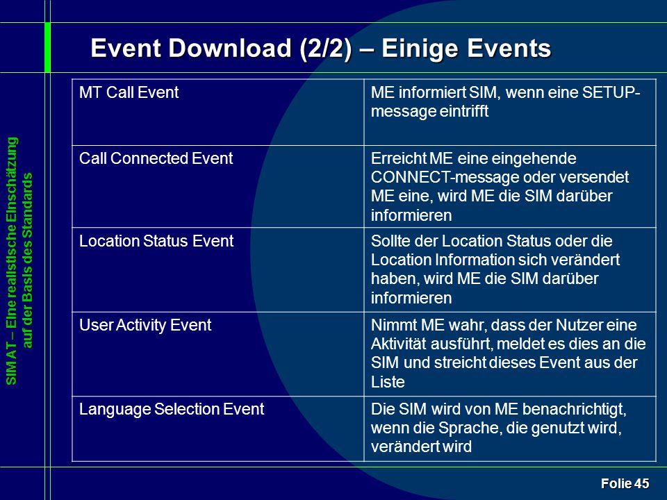 SIM AT – Eine realistische Einschätzung auf der Basis des Standards Folie 45 Event Download (2/2) – Einige Events MT Call EventME informiert SIM, wenn eine SETUP- message eintrifft Call Connected EventErreicht ME eine eingehende CONNECT-message oder versendet ME eine, wird ME die SIM darüber informieren Location Status EventSollte der Location Status oder die Location Information sich verändert haben, wird ME die SIM darüber informieren User Activity EventNimmt ME wahr, dass der Nutzer eine Aktivität ausführt, meldet es dies an die SIM und streicht dieses Event aus der Liste Language Selection EventDie SIM wird von ME benachrichtigt, wenn die Sprache, die genutzt wird, verändert wird