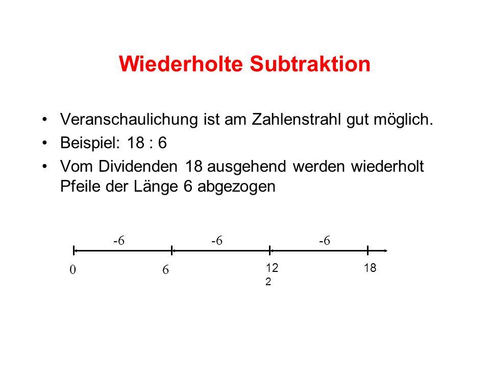 Wiederholte Subtraktion Veranschaulichung ist am Zahlenstrahl gut möglich.