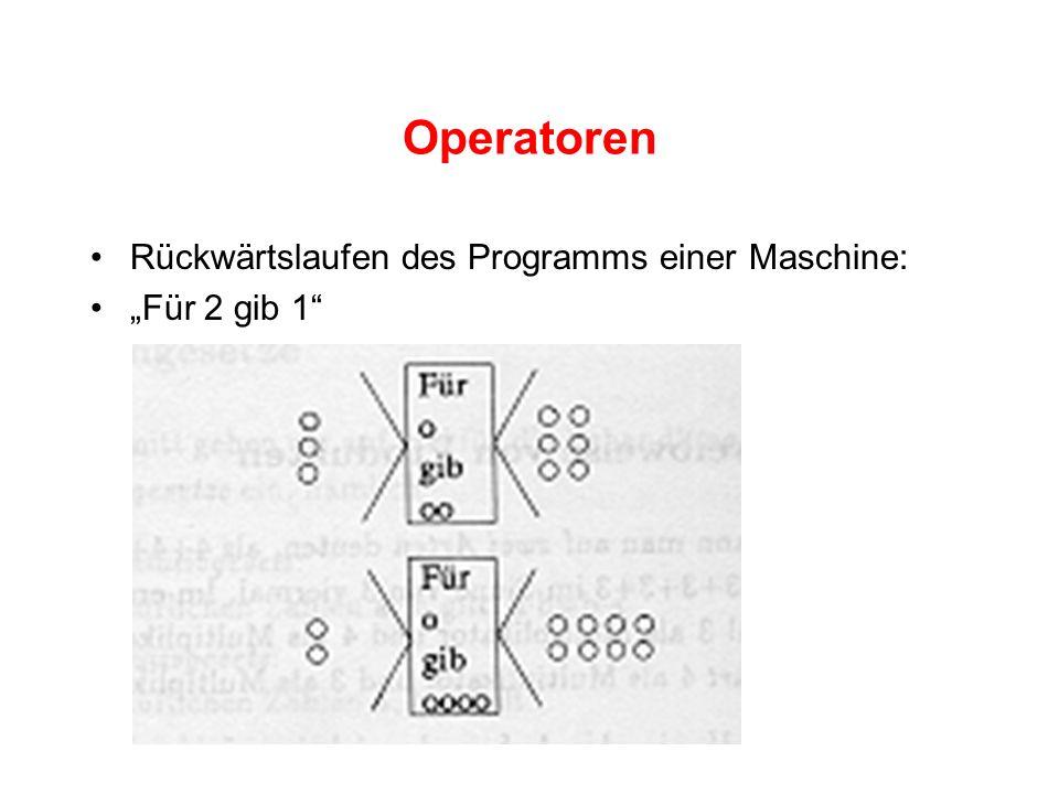 """Operatoren Rückwärtslaufen des Programms einer Maschine: """"Für 2 gib 1"""