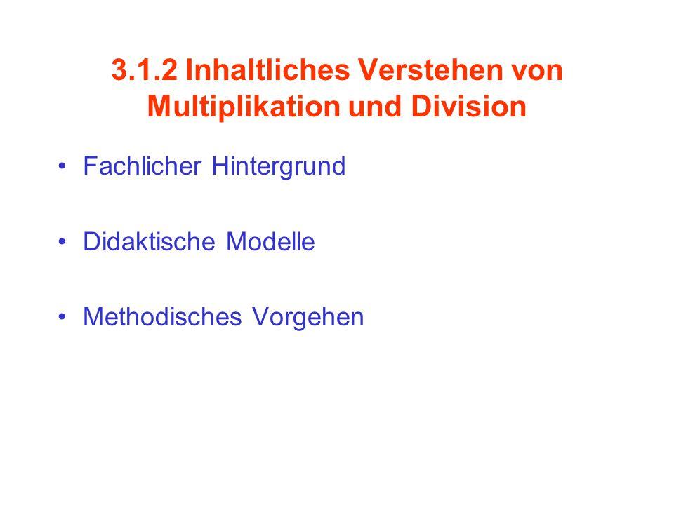 Grundmodelle zur Division Zerlegen von Mengen in gleichmächtige Teilmengen Umkehroperation Wiederholte Subtraktion / Rückwärtszählen Multiplikativer Vergleich Operatoren