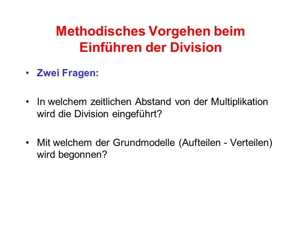 Methodisches Vorgehen beim Einführen der Division Zwei Fragen: In welchem zeitlichen Abstand von der Multiplikation wird die Division eingeführt.