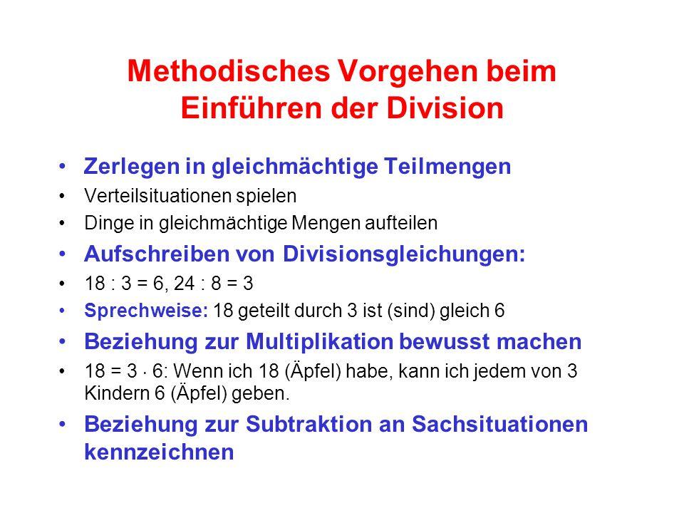 Methodisches Vorgehen beim Einführen der Division Zerlegen in gleichmächtige Teilmengen Verteilsituationen spielen Dinge in gleichmächtige Mengen aufteilen Aufschreiben von Divisionsgleichungen: 18 : 3 = 6, 24 : 8 = 3 Sprechweise: 18 geteilt durch 3 ist (sind) gleich 6 Beziehung zur Multiplikation bewusst machen 18 = 3  6: Wenn ich 18 (Äpfel) habe, kann ich jedem von 3 Kindern 6 (Äpfel) geben.