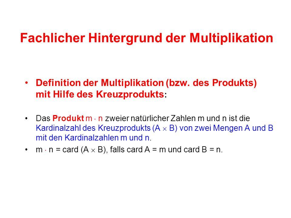 Fachlicher Hintergrund der Multiplikation Definition der Multiplikation (bzw.