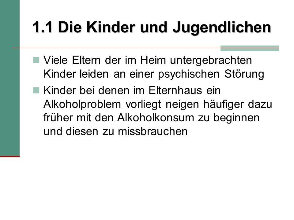 4.2 Diskussion und Vergleich der Ergebnisse Ergebnisse zum sozialen Hintergrund und den soziodemographischen Daten der Stichprobe:  2 Formen der Heimkinder:  Kinder/Jgdl.