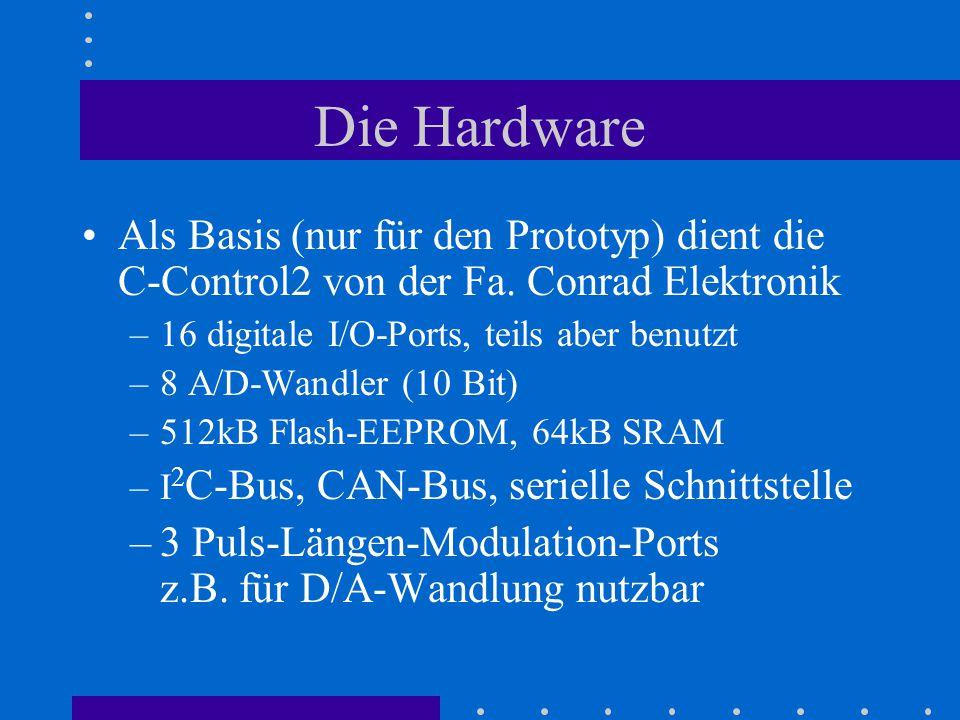 Die Hardware Als Basis (nur für den Prototyp) dient die C-Control2 von der Fa. Conrad Elektronik –16 digitale I/O-Ports, teils aber benutzt –8 A/D-Wan