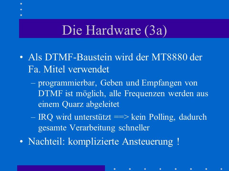 Die Hardware (3a) Als DTMF-Baustein wird der MT8880 der Fa. Mitel verwendet –programmierbar, Geben und Empfangen von DTMF ist möglich, alle Frequenzen