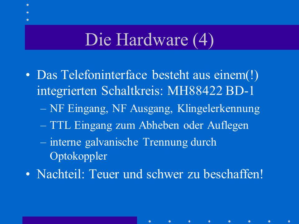 Die Hardware (4) Das Telefoninterface besteht aus einem(!) integrierten Schaltkreis: MH88422 BD-1 –NF Eingang, NF Ausgang, Klingelerkennung –TTL Einga