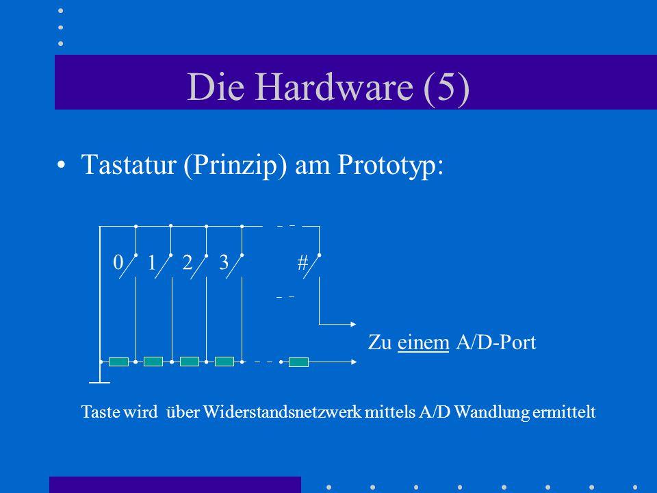 Die Hardware (5) Tastatur (Prinzip) am Prototyp: 0 1 2 3 # Zu einem A/D-Port Taste wird über Widerstandsnetzwerk mittels A/D Wandlung ermittelt