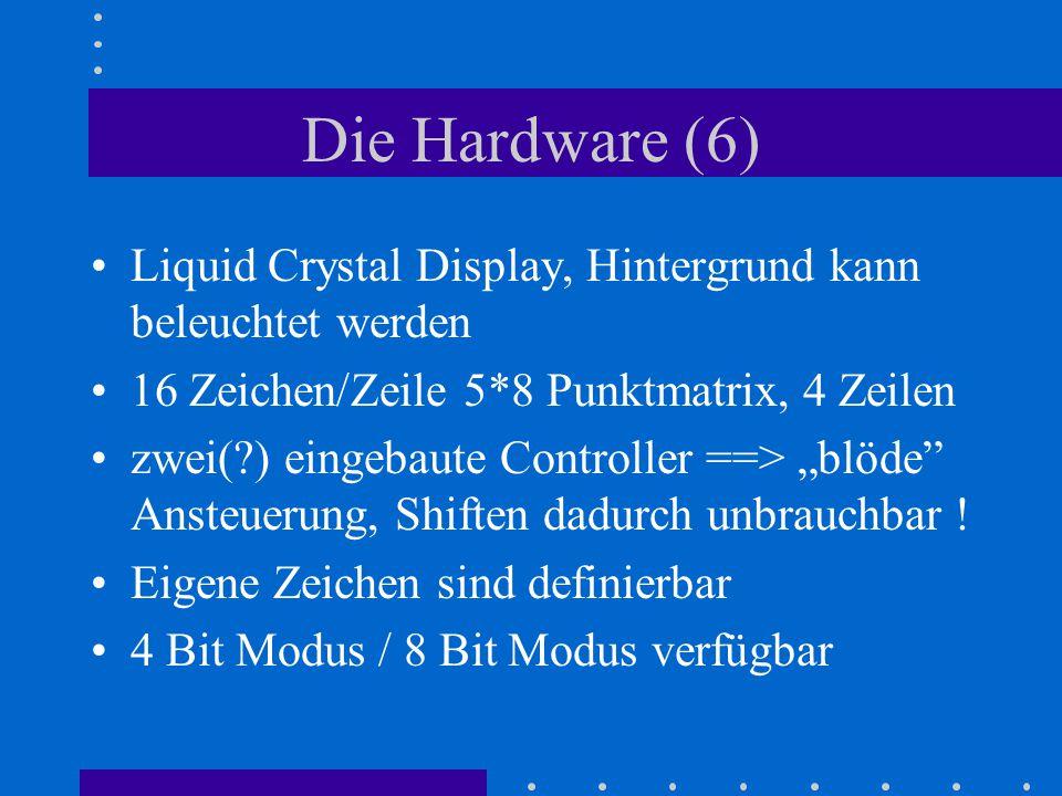 Die Hardware (6) Liquid Crystal Display, Hintergrund kann beleuchtet werden 16 Zeichen/Zeile 5*8 Punktmatrix, 4 Zeilen zwei(?) eingebaute Controller =