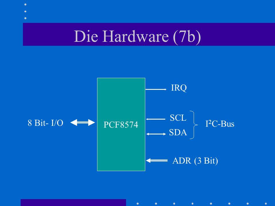Die Hardware (7b) PCF8574 8 Bit- I/O IRQ ADR (3 Bit) SCL SDA I 2 C-Bus