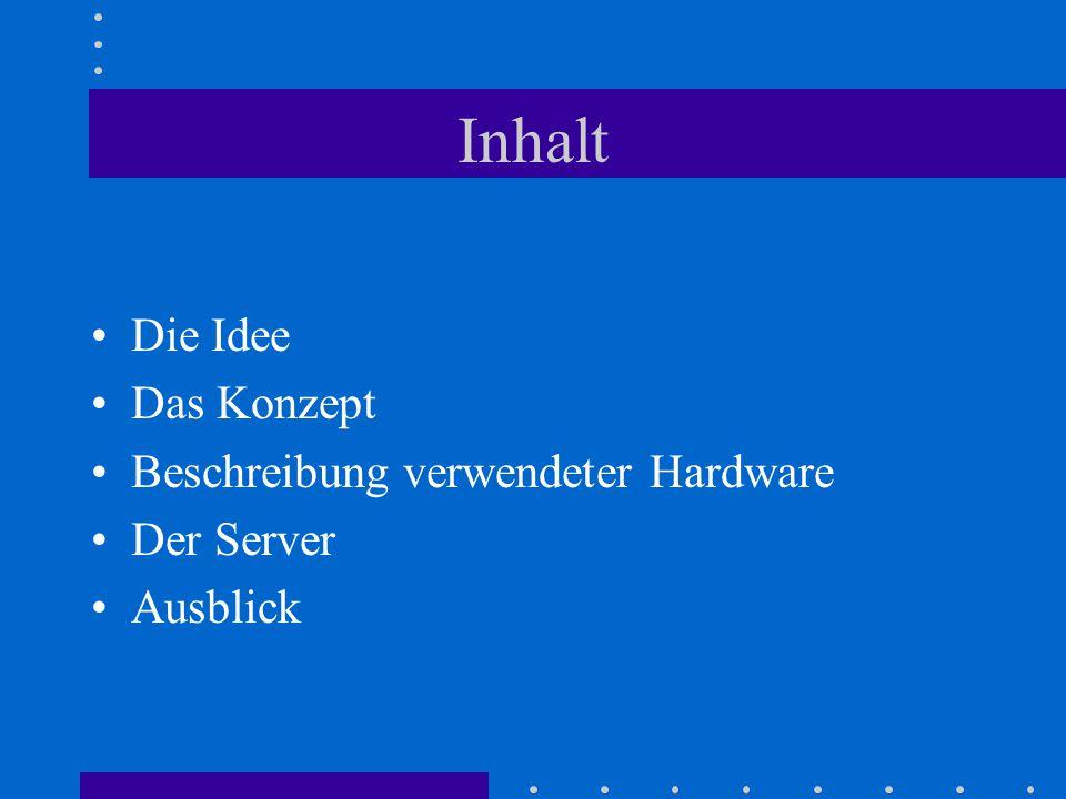 Inhalt Die Idee Das Konzept Beschreibung verwendeter Hardware Der Server Ausblick