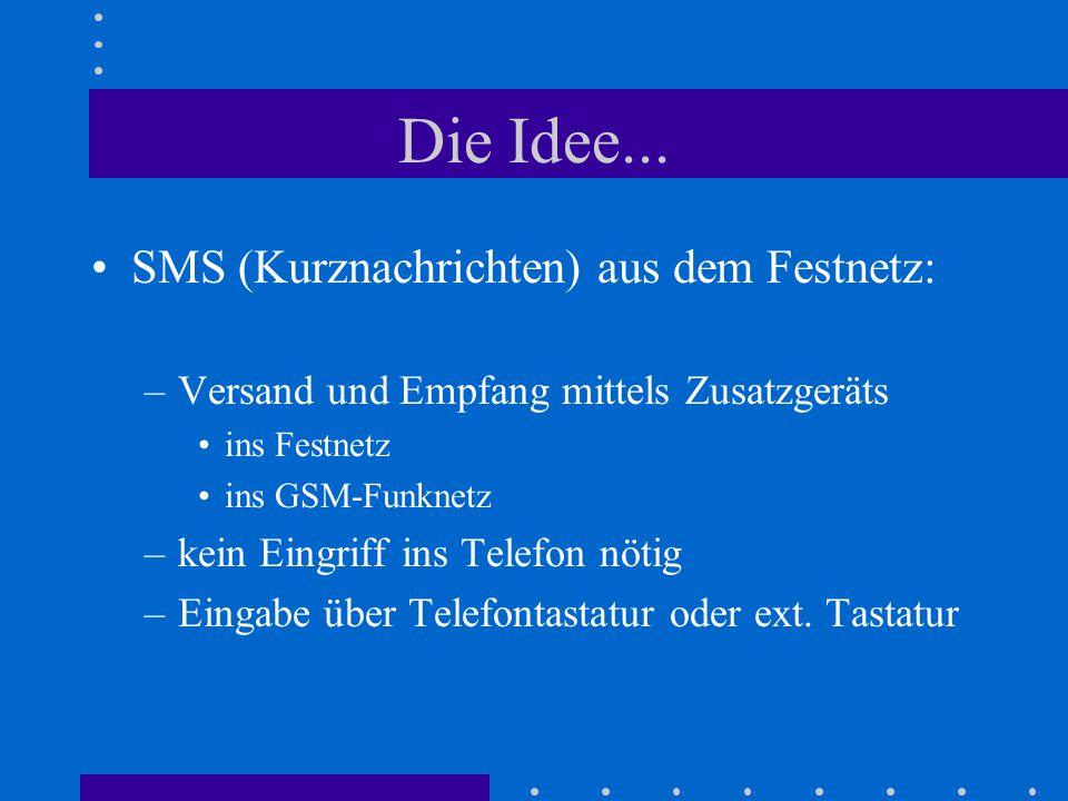 Die Idee... SMS (Kurznachrichten) aus dem Festnetz: –Versand und Empfang mittels Zusatzgeräts ins Festnetz ins GSM-Funknetz –kein Eingriff ins Telefon