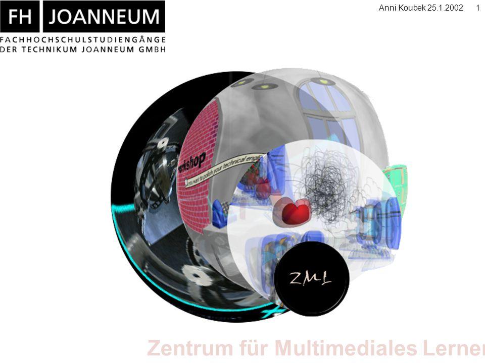 Zentrum für Multimediales Lernen Anni Koubek 25.1.20022 Technikum Joanneum GmbH >Technikum Joanneum ist Träger 14 >Fachhochschulstudiengängen in der Steiermark >3 Standorte (Graz, Kapfenberg, Bad Gleichenberg) >Gegründet in 1995 (4 Studiengänge,ca.