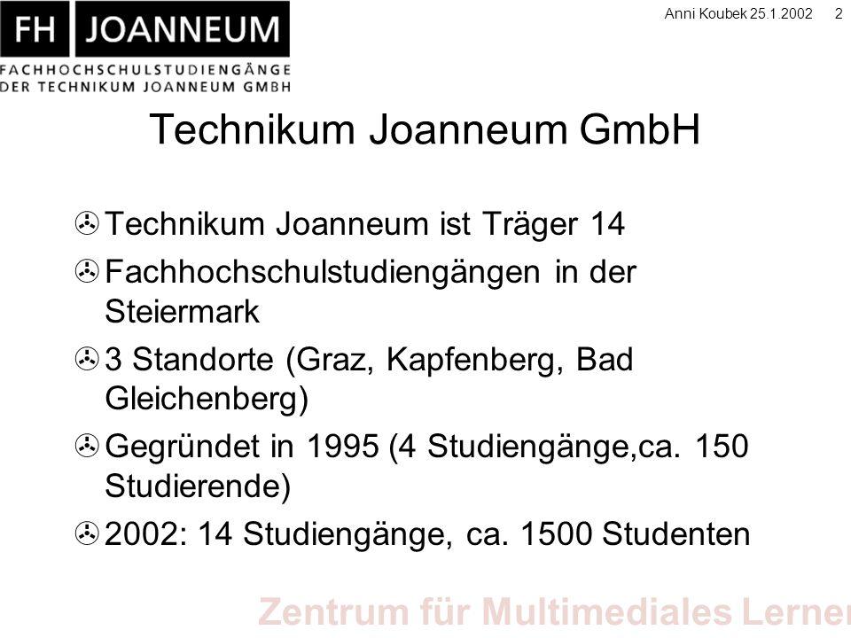 Zentrum für Multimediales Lernen Anni Koubek 25.1.200213 E-Learning Produkte