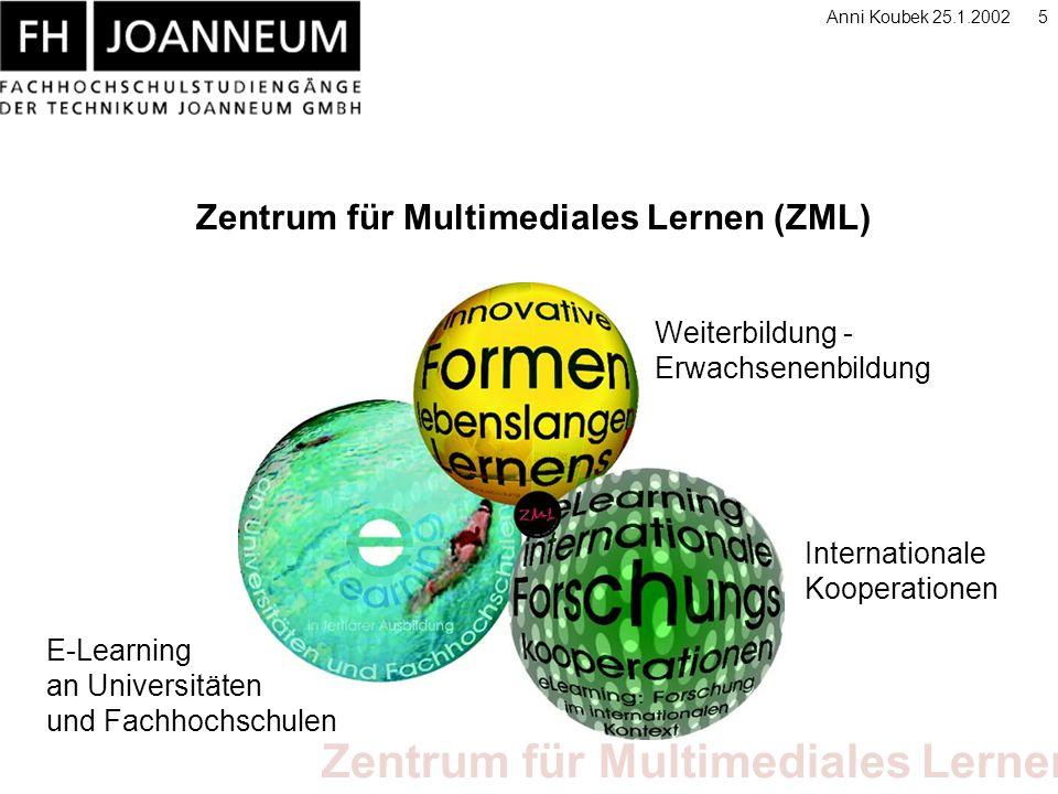 Zentrum für Multimediales Lernen Anni Koubek 25.1.20025 Zentrum für Multimediales Lernen (ZML) Weiterbildung - Erwachsenenbildung Internationale Kooperationen E-Learning an Universitäten und Fachhochschulen
