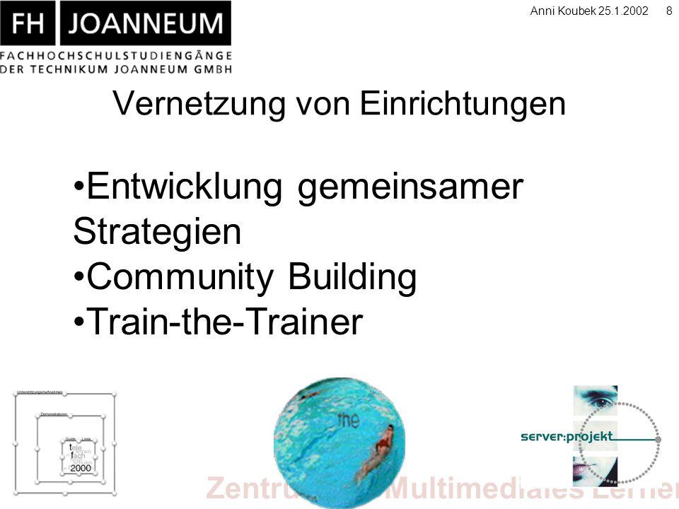 Zentrum für Multimediales Lernen Anni Koubek 25.1.20028 Vernetzung von Einrichtungen Entwicklung gemeinsamer Strategien Community Building Train-the-Trainer